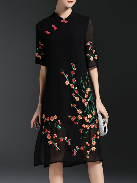 Black Vintage A-line Floral Stand Collar Chiffon Dress