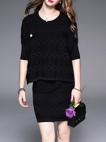 Casual Crew Neck Half Sleeve Knitted Two Piece Mini Dress