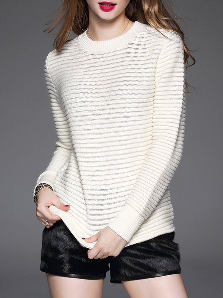 Apricot Crew Neck Knitted Casual Sweater