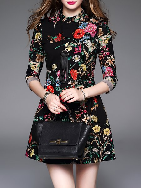 Floral Cotton 3/4 Sleeve Floral Print Vintage Mini Dress