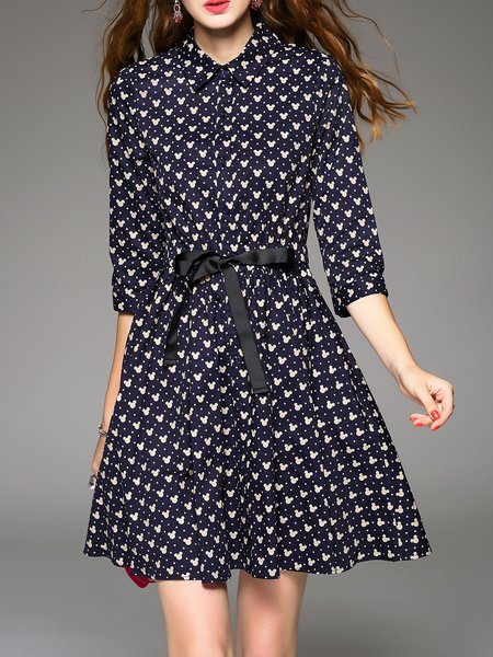 Navy Blue Skater Casual Printed Bow Shirt Dress