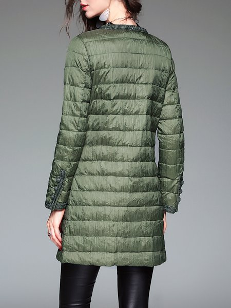 Green Long Sleeve Polyester H-line Buttoned Down Coat - StyleWe.com