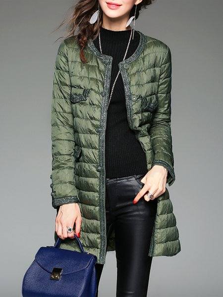 Green Long Sleeve Paneled H-line Buttoned Down Coat