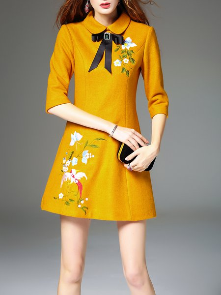 Yellow Peter Pan Collar Embroidered Bow A-line Mini Dress