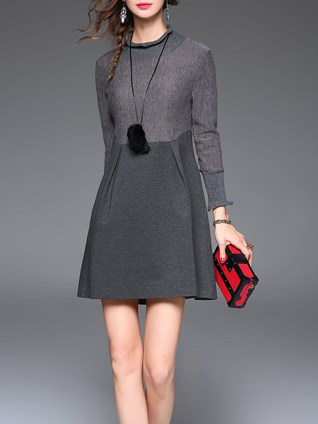 Gray Ruffled Plain Frill Sleeve Mini Dress