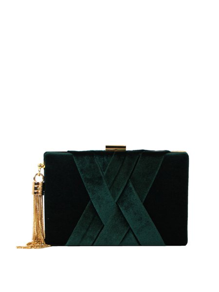 Mini Green Clasp Lock Evening Velvet Clutch