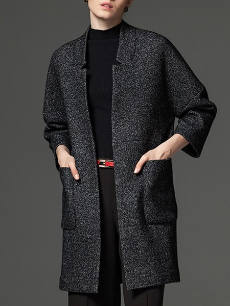 Deep Gray Simple Pockets Plain Open Front Wool-blend Coat
