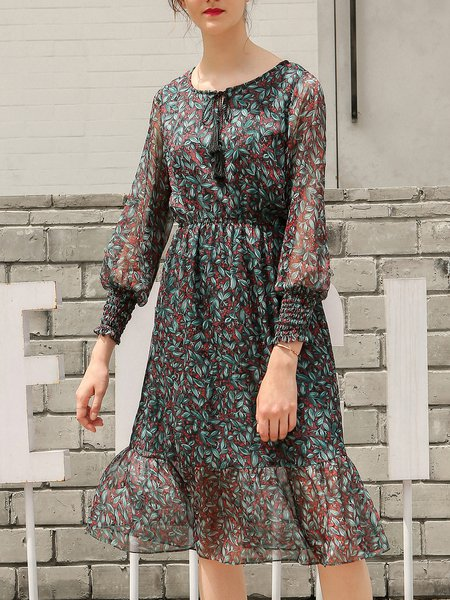 Balloon Sleeve Crew Neck Leaf Print Midi Dress