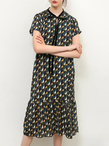 Shorts Sleeve Flounce Geometric Stand Collar Boho Dress