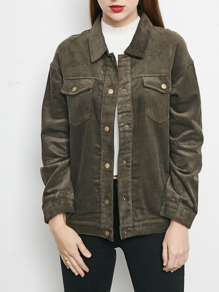 Army Green Buttoned Casual H-line Coat