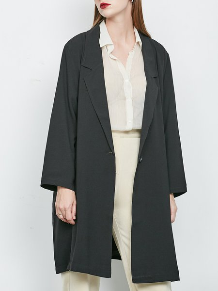 Chiffon Cocoon Lapel Long Sleeve Solid Simple Coat
