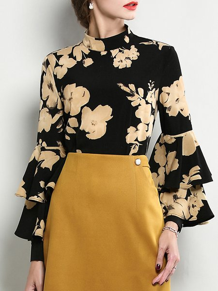 Black Stand Collar Floral-print Elegant Top