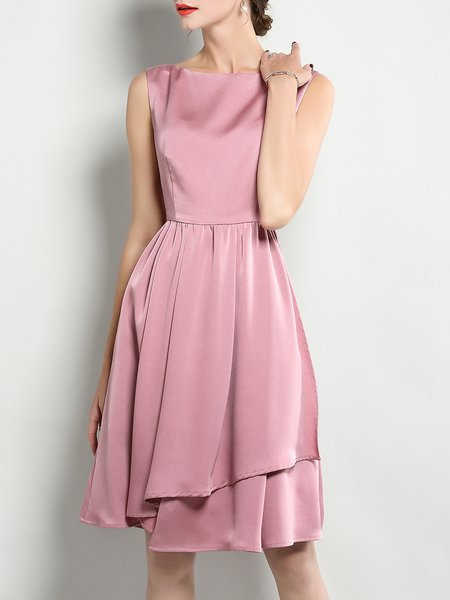 Pink Sleeveless A-line Solid Midi Dress