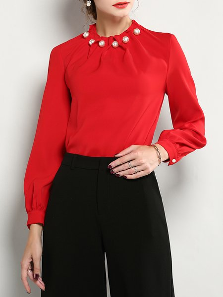 Red Long Sleeve Stand Collar Beaded Top