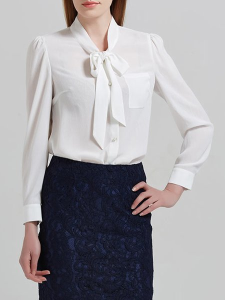 White Polyester Long Sleeve V Neck Bow Blouse