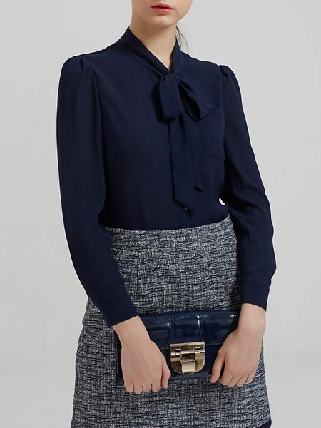 Navy Blue V Neck Long Sleeve Bow Blouse