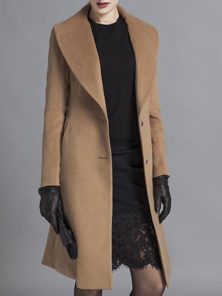Camel Buttoned Plain Long Sleeve Coat