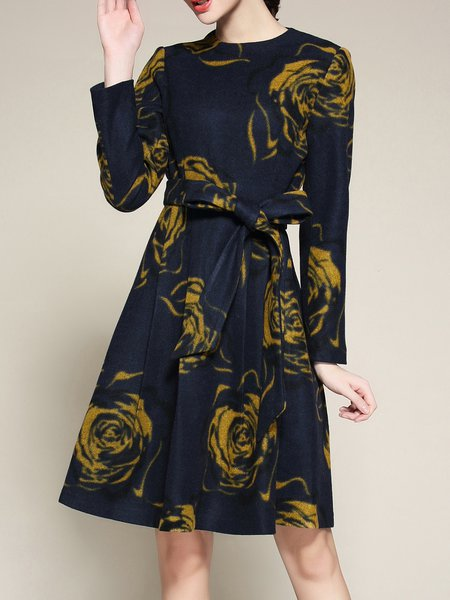 Navy Blue Long Sleeve Crew Neck Printed Midi Dress