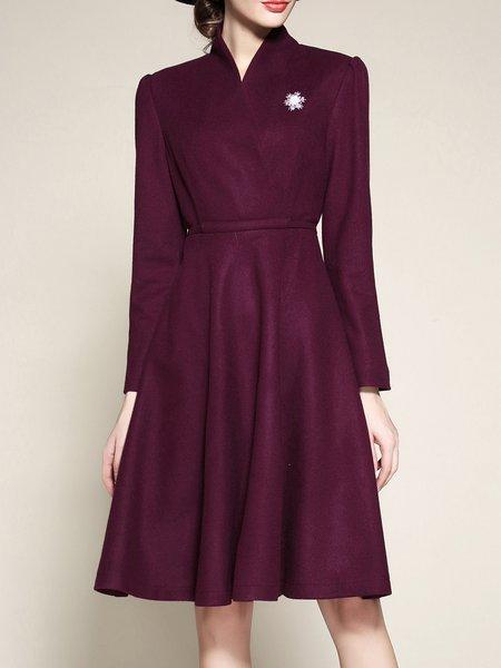 Purple Solid A-line Elegant Midi Dress