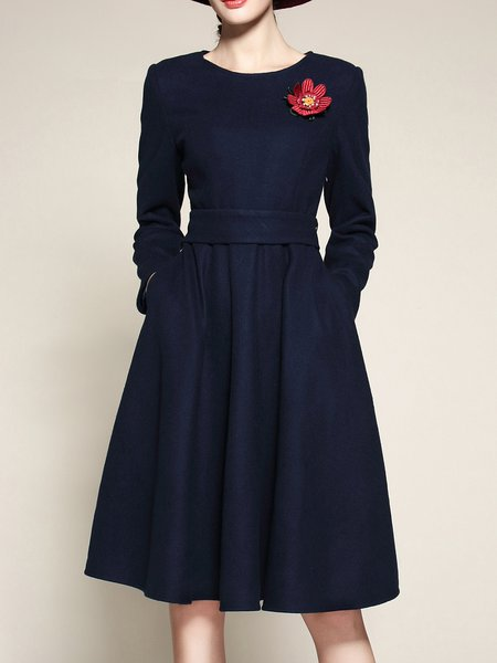 Navy Blue Crew Neck A-line Elegant Midi Dress With Pockets