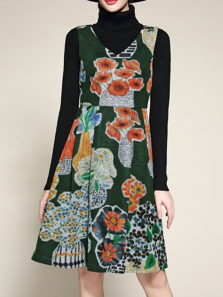 Dark Green A-line Printed Casual Midi Dress