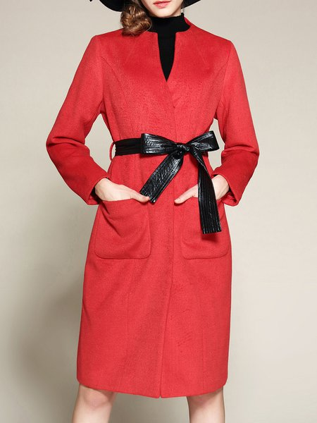 Red Casual H-line V Neck Coat With Pockets