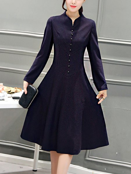 Royal Blue A-line Long Sleeve Elegant Midi Dress