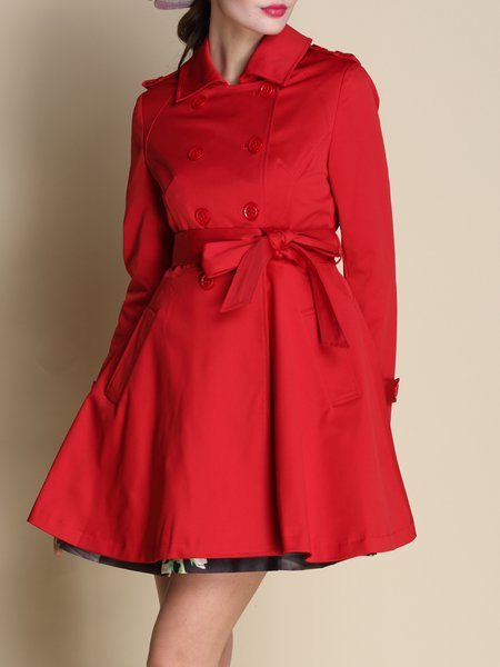 Red Plain Pockets Casual A-line Coat