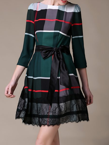 Green Checkered/Plaid Paneled Elegant Mini Dress