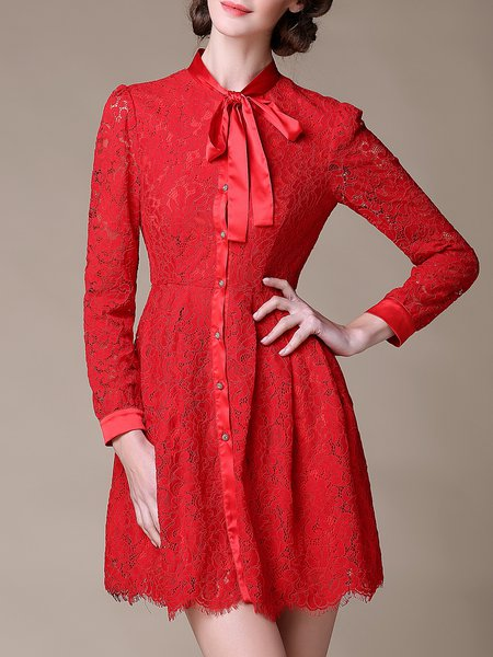 Crocheted Long Sleeve Lace Mini Dress
