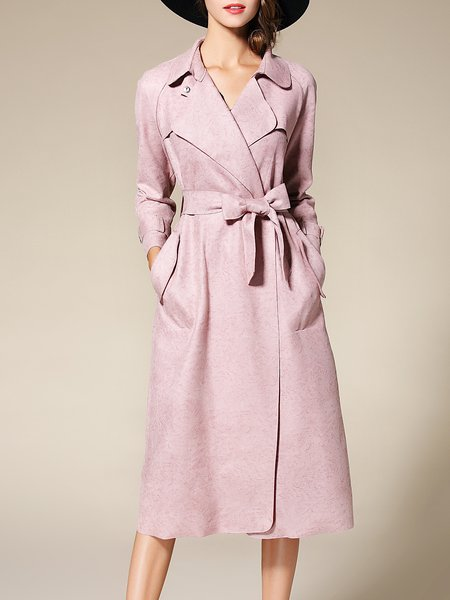 Pink Long Sleeve H-line Lapel Pockets Trench Coat