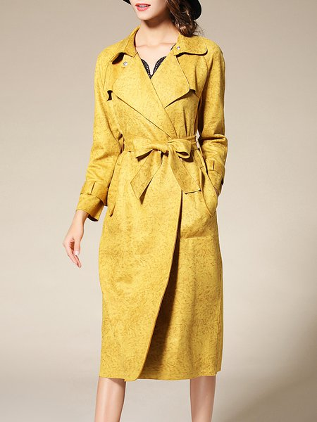Yellow Long Sleeve Polyester Pockets Trench Coat