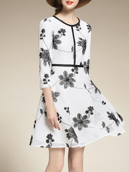 White Elegant Embroidered Crew Neck Mesh Midi Dress