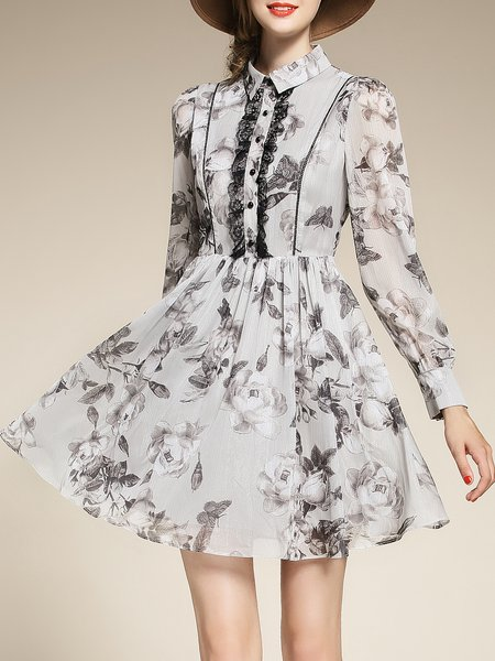 Light Gray Printed Long Sleeve Mini Dress
