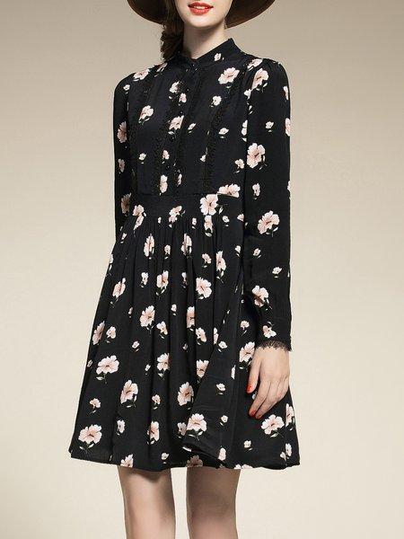 Black Printed Polyester Stand Collar Long Sleeve Mini Dress