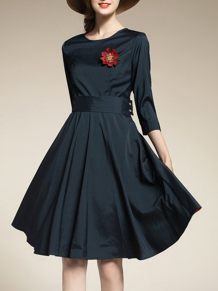Dark Blue Elegant Solid Crew Neck Midi Dress