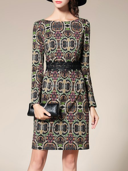 Bateau/boat Neck Long Sleeve Printed Elegant Midi Dress