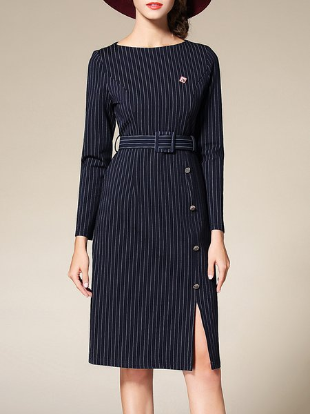 Slit Elegant Bateau/boat Neck Stripes Midi Dress