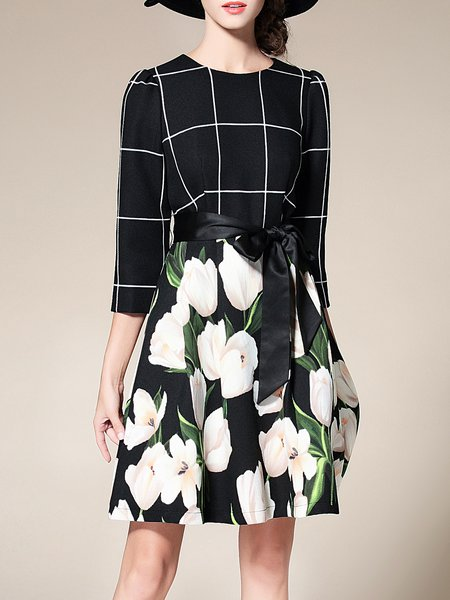 Black Polyester Floral Printed Elegant Midi Dress
