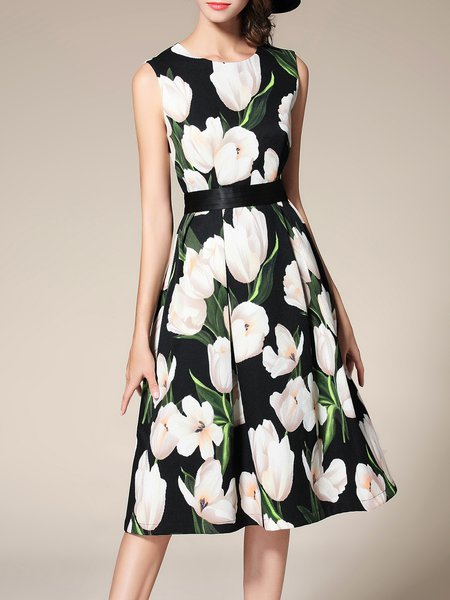 Black Elegant Crew Neck Floral Printed A-line Midi Dress