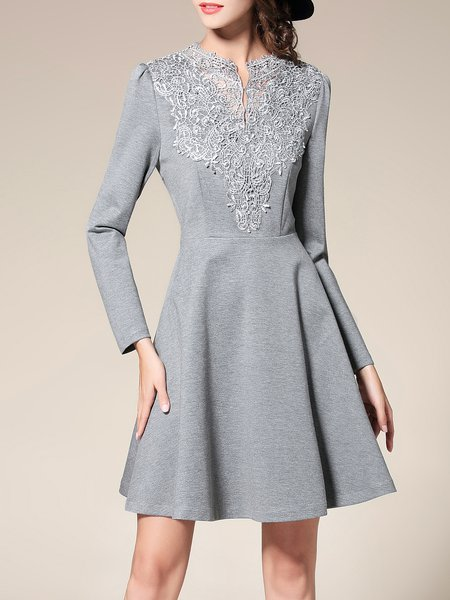 Gray A-line Elegant Appliqued Mini Dress