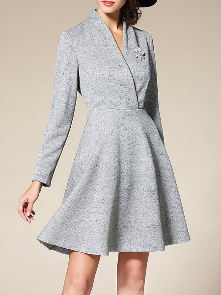 Gray Elegant V Neck A-line Polyester Mini Dress
