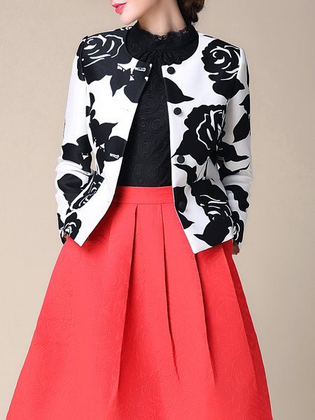 White Long Sleeve Printed Cropped Jacket