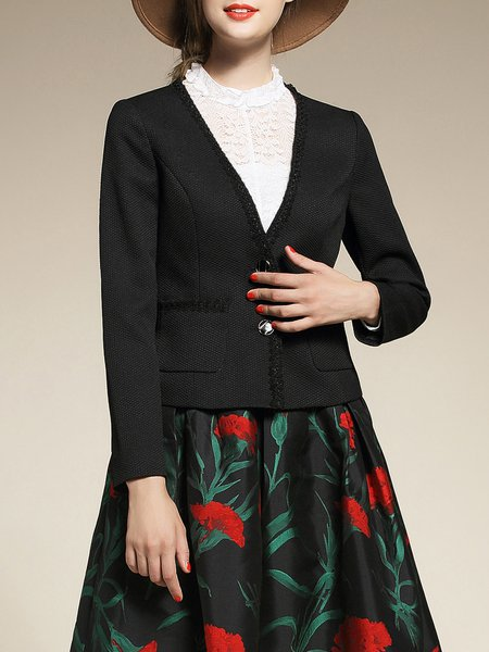 Black Polyester Sheath Long Sleeve Cropped Jacket