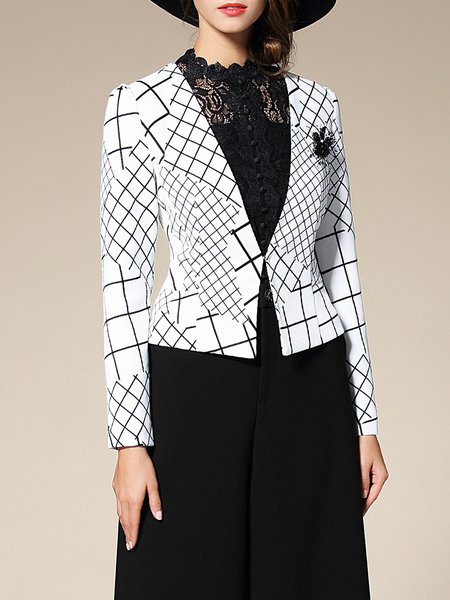 White Elegant Checkered/Plaid Sheath Blazer