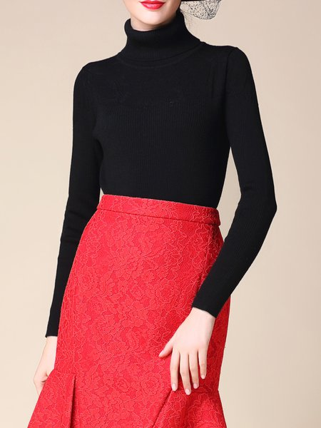 Black Sheath Plain Long Sleeve Knitted Turtleneck Sweater