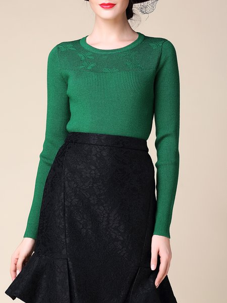 Green Ribbed Casual Crew Neck Sweater