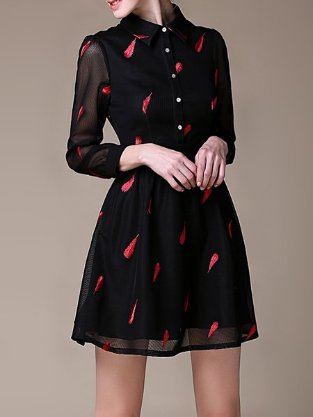 Black Embroidered Polyester Elegant Mini Dress