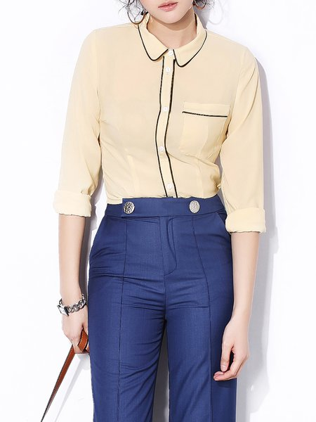 Apricot Pockets Shirt Collar Simple Blouse