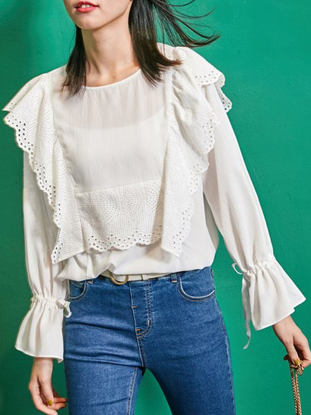 Ruffled Girly Bell Sleeve Crew Neck Blouse